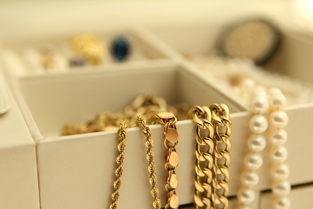 Gold jewelry in a box