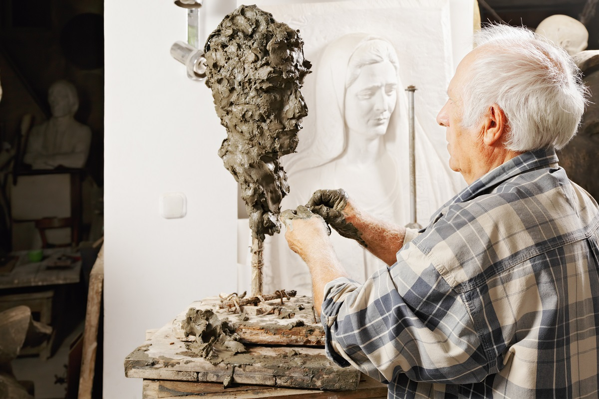 old man sculpting