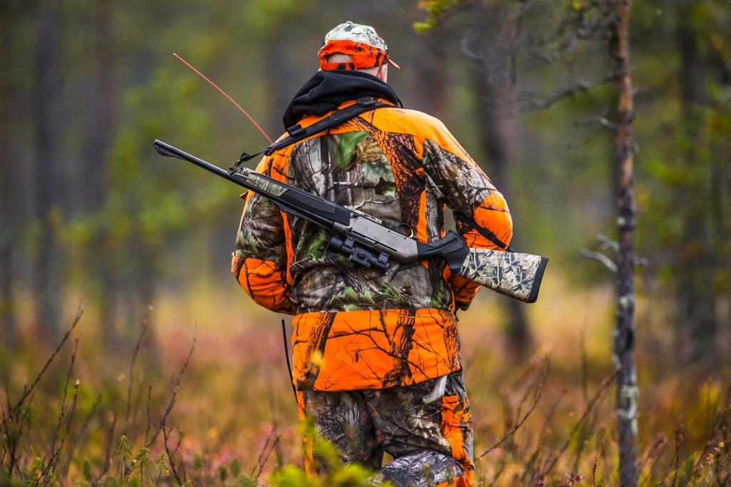Hunter in the fall hunting season