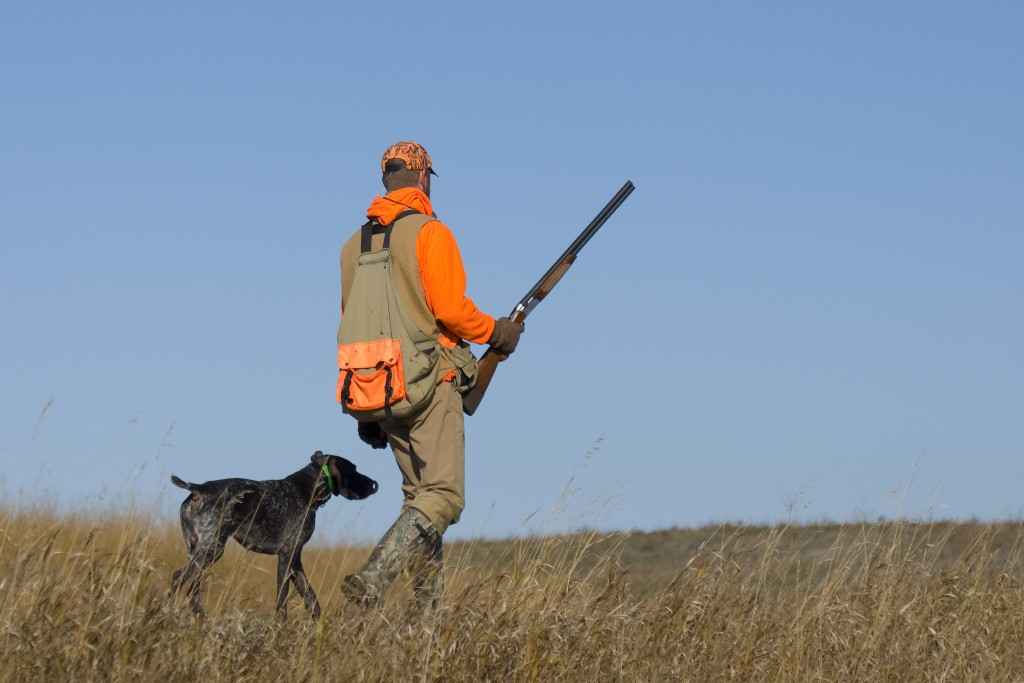 man with dog out for hunting
