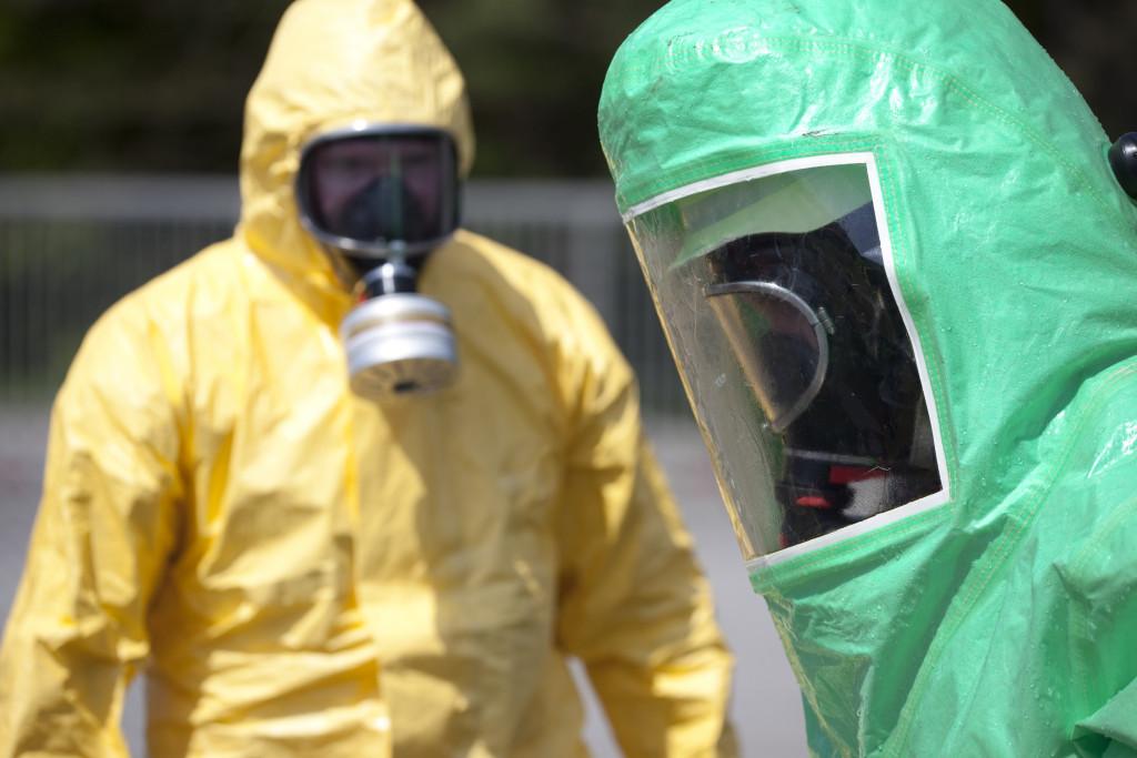 men wearing protective equipment